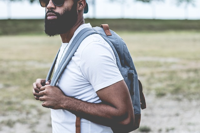 bearded male student