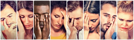 Collage group of sad depressed people. Unhappy men women