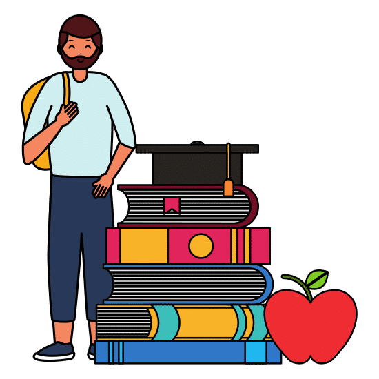 college student and books