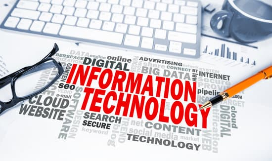 information technology word cloud on office scene