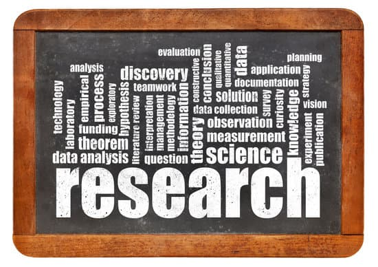 research word cloud on an isolated blackboard - science concept