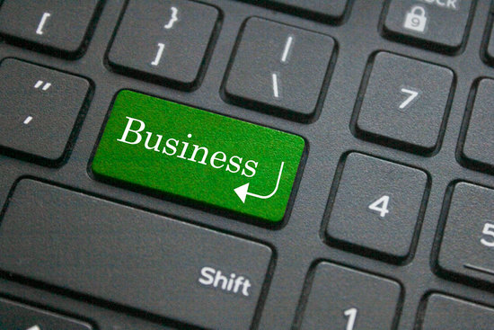 Close up of business word on computer keyboard
