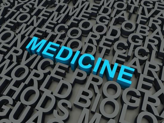 Word Medicine in blue, salient among other keywords concept in grey. 3d render illustration.