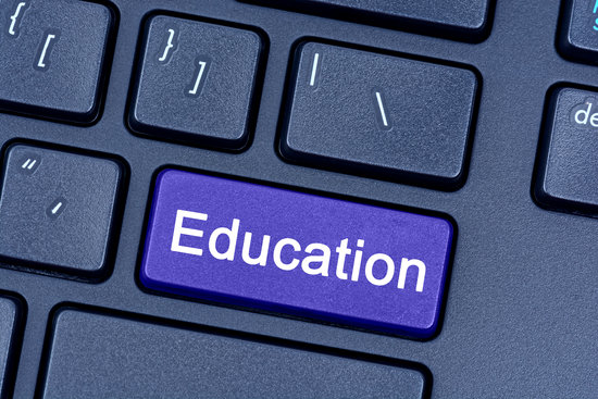 Education word  on keyboard button