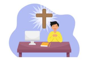 Boy praying before virtual Christian Education