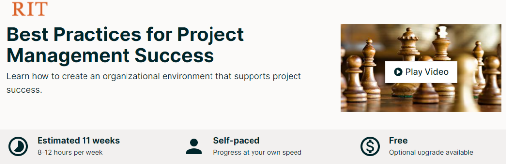 Free Online College Classes for Project Management 4
